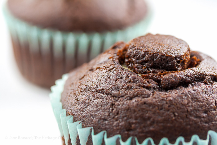 Cored and filled cupcake; Irish Cream-Filled Chocolate Cupcakes for St. Patrick's Day; 2015 Jane Bonacci, The Heritage Cook