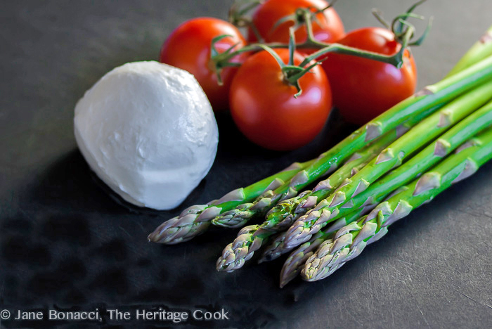 The raw ingredients for this Asparagus Caprese Salad