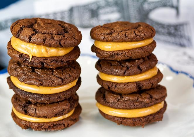 Chocolate-Peanut Butter Sandwich Cookies; 2015 Jane Bonacci, The Heritage Cook