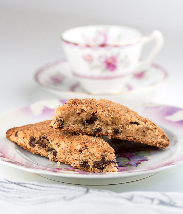Gluten Free Chocolate Chip Scones on antique floral china; 2015 Jane Bonacci. All rights reserved.