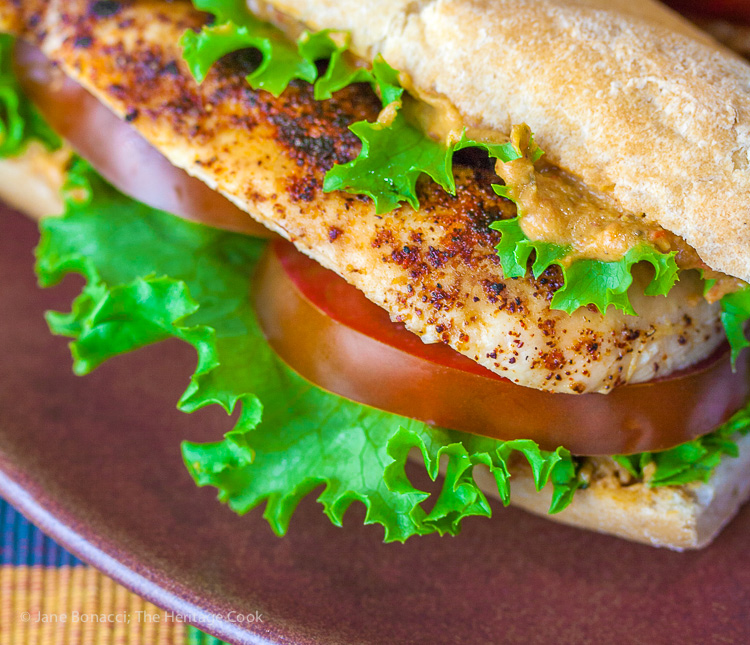 Grilled Chicken Sandwiches with Hummus Aioli for Sabra National Hummus Day; 2015 Jane Bonacci, The Heritage Cook