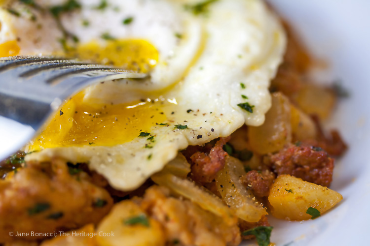 A glorious Father's Day breakfast or for any brunch; Mexican Chorizo Breakfast Hash; 2015 Jane Bonacci, The Heritage Cook