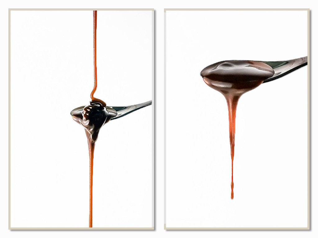 As the caramel cools, it darkens and becomes thicker - a thicker stream from the spoon