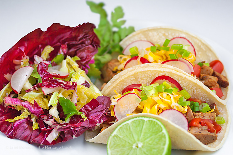 This slaw is equally delicious with grilled meats or fish, and alongside tacos. It goes with everything! Crunchy Gluten-Free Red & Green Slaw; 2015 Jane Bonacci, The Heritage Cook