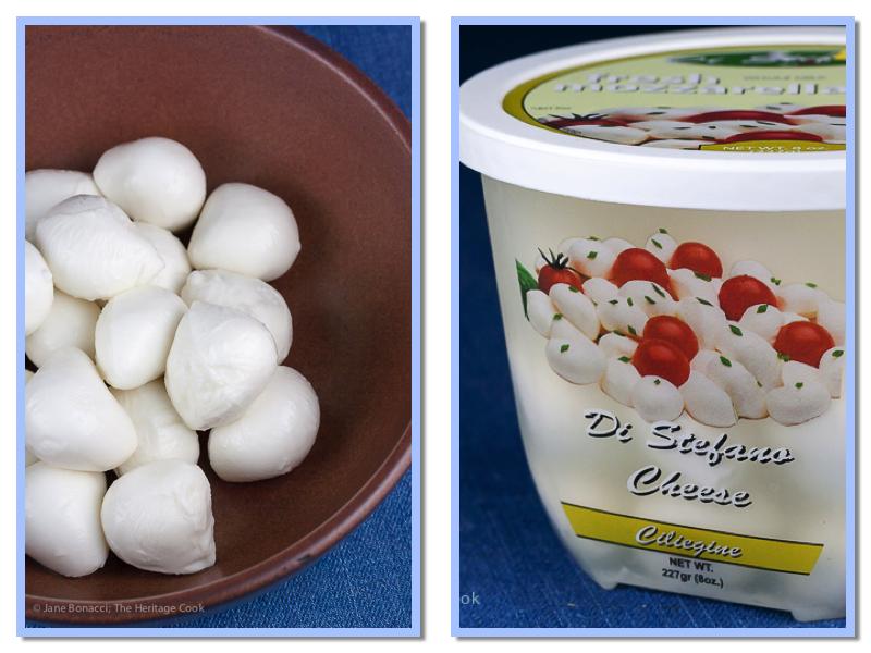 Bowl and container of bocconcini, mini balls of fresh mozzarella in water