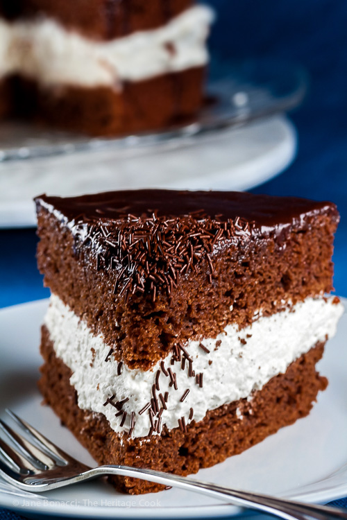Chocolate Jimmies make a great decoration; Chocolate Layer Cake with Whipped Cream Filling; © 2015 Jane Bonacci, The Heritage Cook