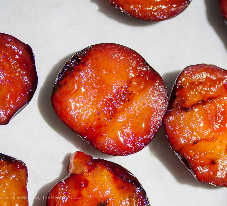 Beautiful grill marks on the plums; Port & Grilled Plum Parfaits; 2014 Jane Bonacci, The Heritage Cook