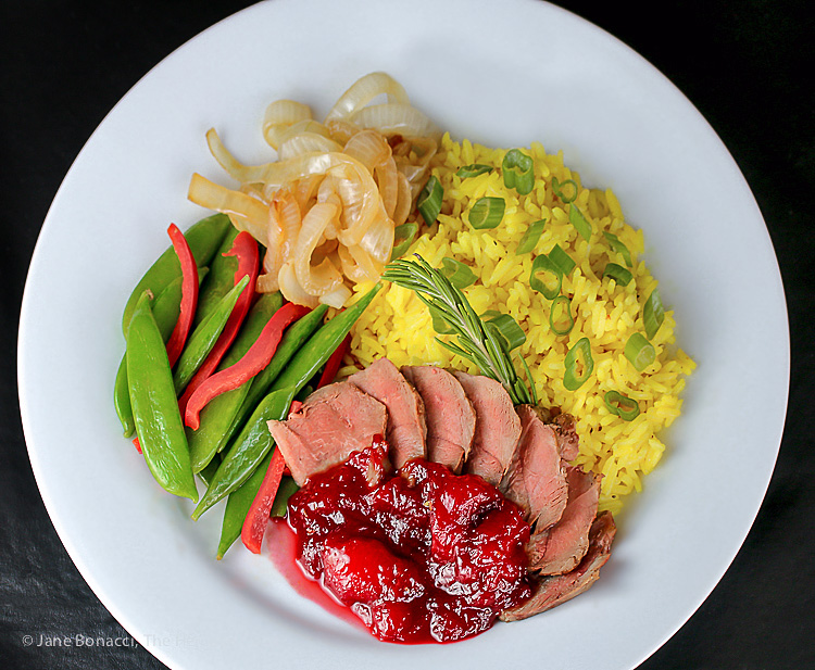 The perfect special occasion dinner! Pan Seared Duck Breasts with Fresh Plum Sauce; © 2015 Jane Bonacci, The Heritage Cook