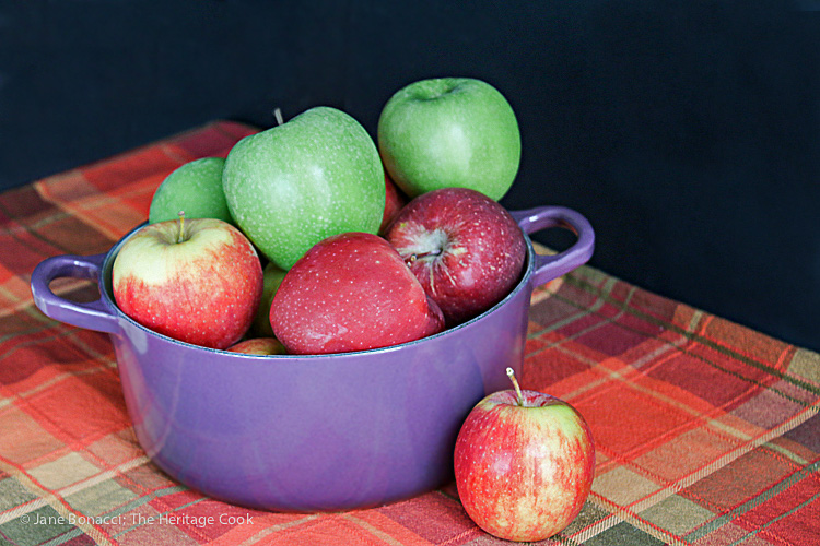 A blend of apples makes the best applesauce! Homemade Pink Applesauce; 2015 Jane Bonacci, The Heritage Cook