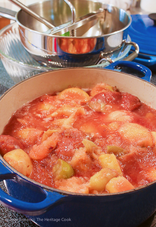 Homemade Pink Applesauce; 2015 Jane Bonacci, The Heritage Cook