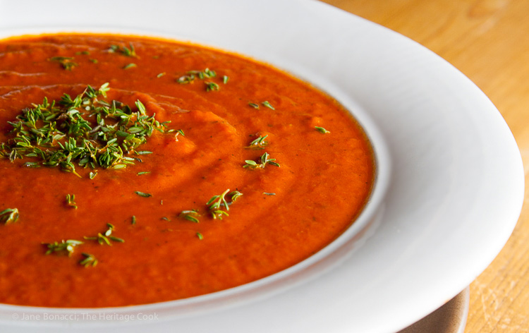 Soul-Warming Tomato Soup with Peppers and Onions; 2015 Jane Bonacci, The Heritage Cook