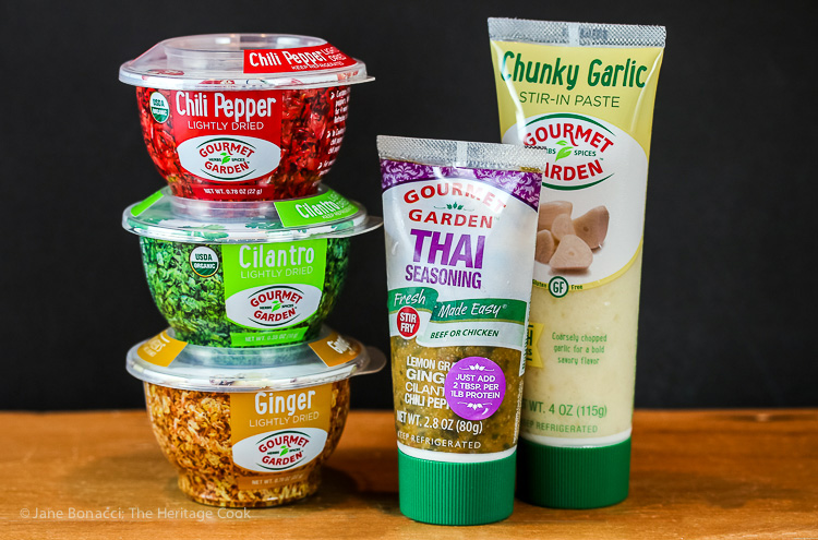Gourmet Garden products used in Thai Shrimp and Pineapple Rice; © 2015 Jane Bonacci, The Heritage Cook