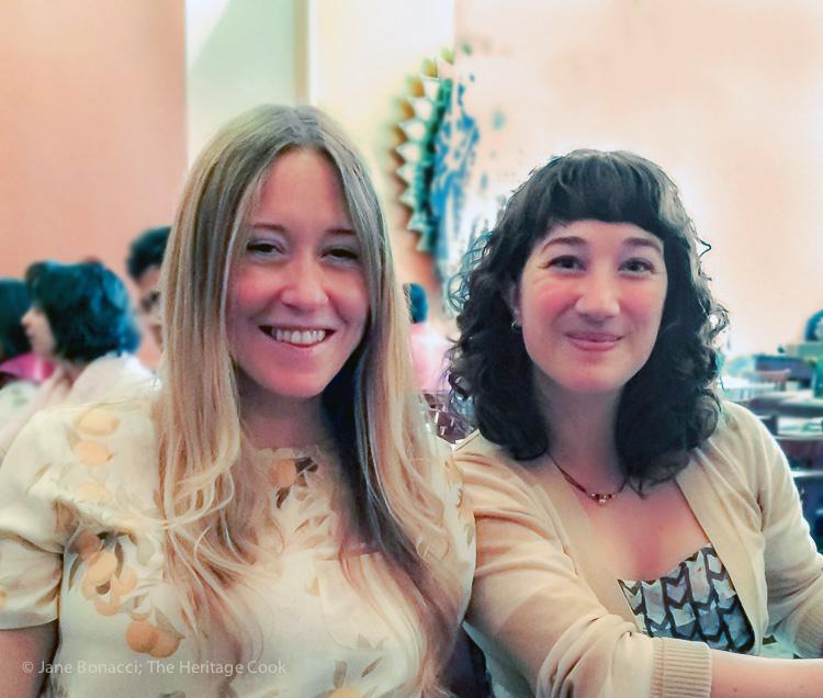 Author Anna Jones and Marthine Satris at DOSA in San Francisco; Sage, Pumpkin and Potato Bake; © 2015 Jane Bonacci, The Heritage Cook