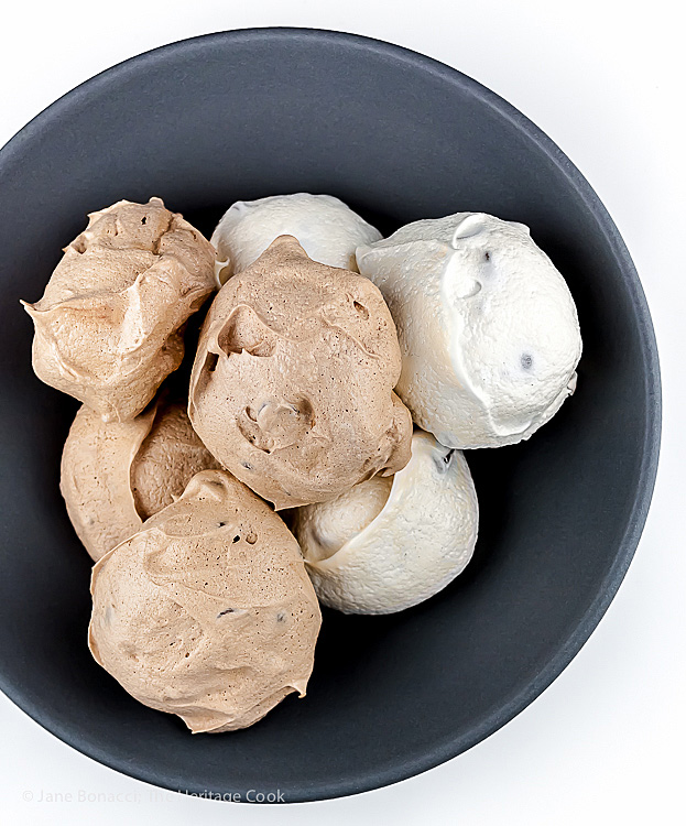 Chocolate and Vanilla Meringues with a Surprise Inside; 2015 Jane Bonacci, The Heritage Cook