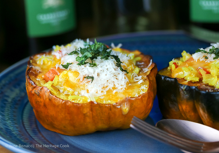 Moroccan Pilaf and Vegetable Stuffed Squash for a Vegetarian Thanksgiving; 2015 Jane Bonacci, The Heritage Cook