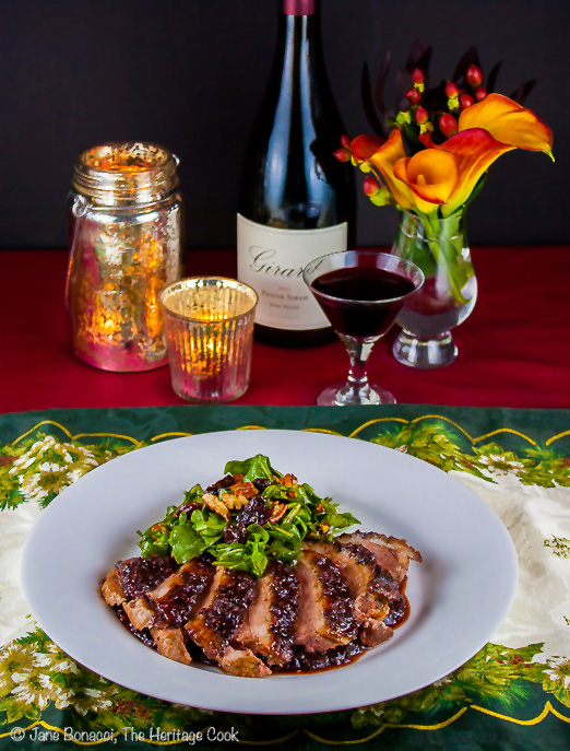 Cherry Glazed Duck Breasts and Arugula Salad with Cherry Vinaigrette; © 2013 Jane Bonacci, The Heritage Cook