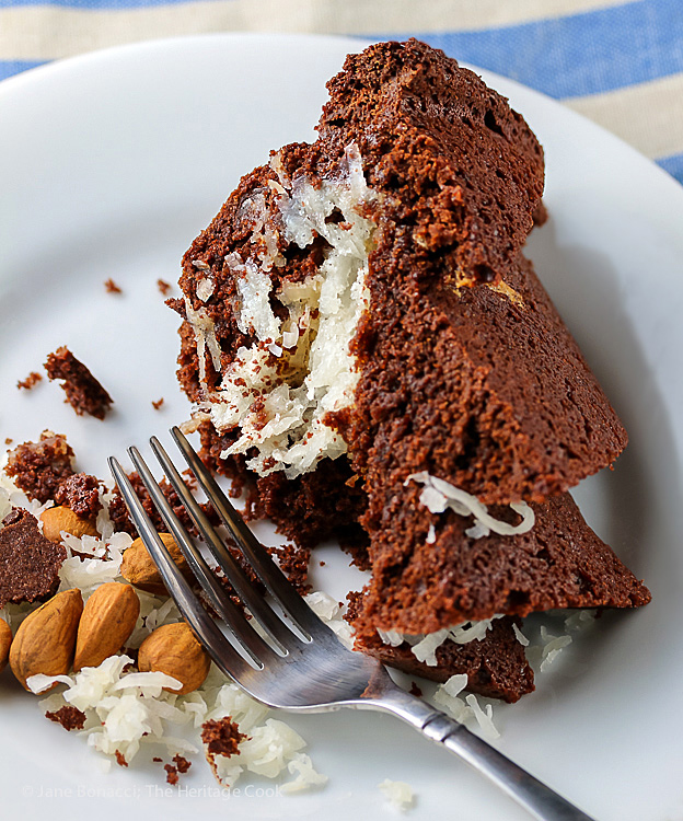 Chocolate and Coconut Almond Joy Bundt Cake; © 2016 Jane Bonacci, The Heritage Cook