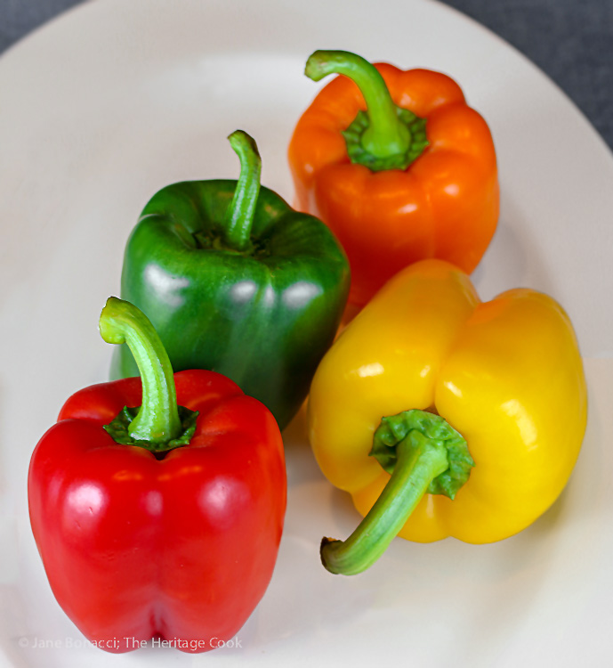 Gorgeous fresh bell peppers for dipping; Chipotle Black Bean Dip for Super Bowl Sunday, Jane Bonacci, The Heritage Cook