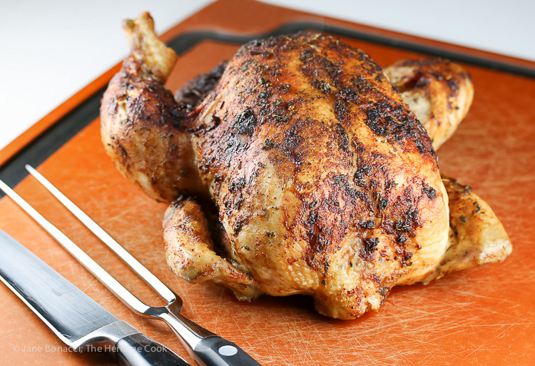 Ready for carving; Pisco Brandy Roasted Peruvian Chicken, Gluten-Free © 2016 Jane Bonacci, The Heritage Cook