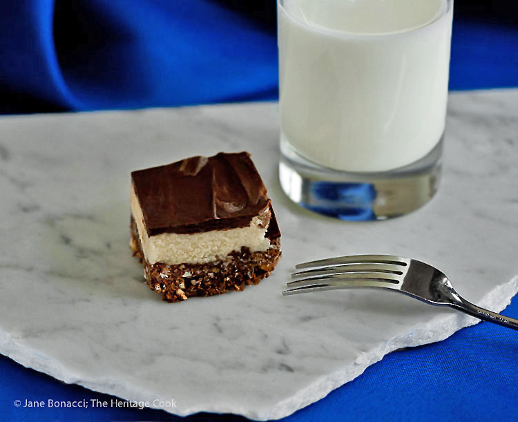 Nothing better than a glass of cold milk with chocolate desserts! Chocolate Coconut Nanaimo Bars (Gluten-Free); © 2016 Jane Bonacci, The Heritage Cook