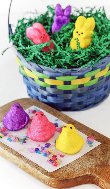Perfect Easter Treats; Bright Sugar Coated Homemade Peeps; @ 2016 Jane Bonacci, The Heritage Cook