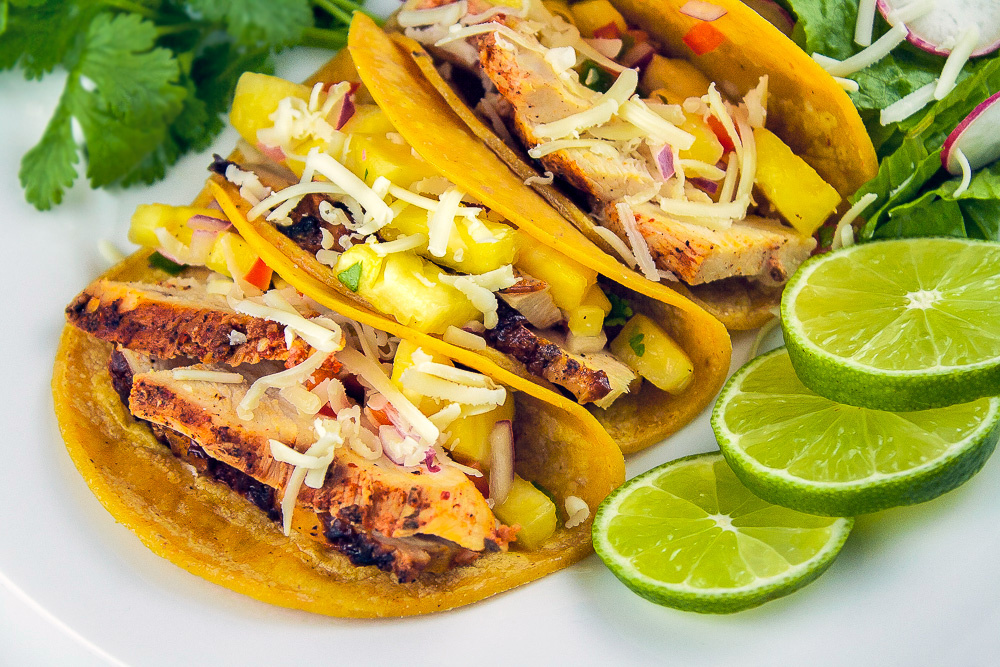Fresh lime with wonderful Chicken Tacos al Pastor with Pineapple Salsa; © 2014 Jane Bonacci, The Heritage Cook