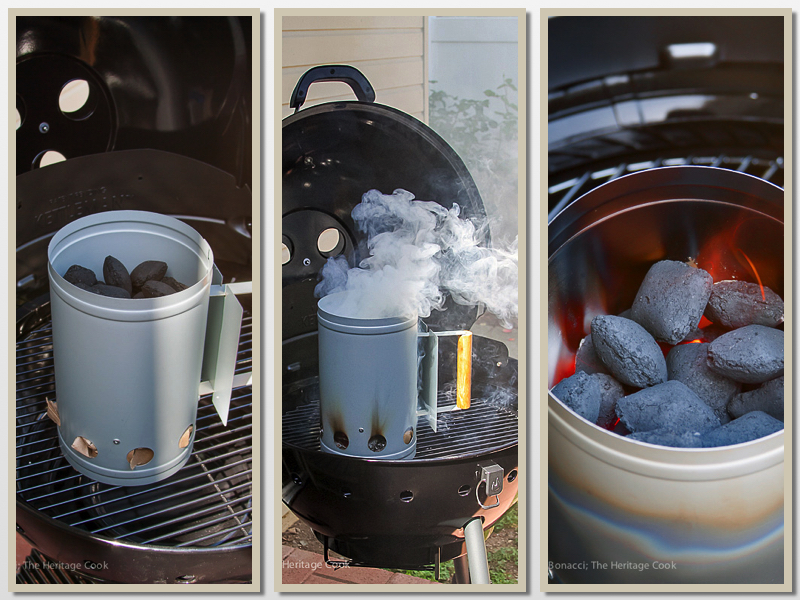 Using a charcoal chimney; Outrageous Chorizo Poblano Cheeseburgers (Gluten-Free); © 2016 Jane Bonacci, The Heritage Cook