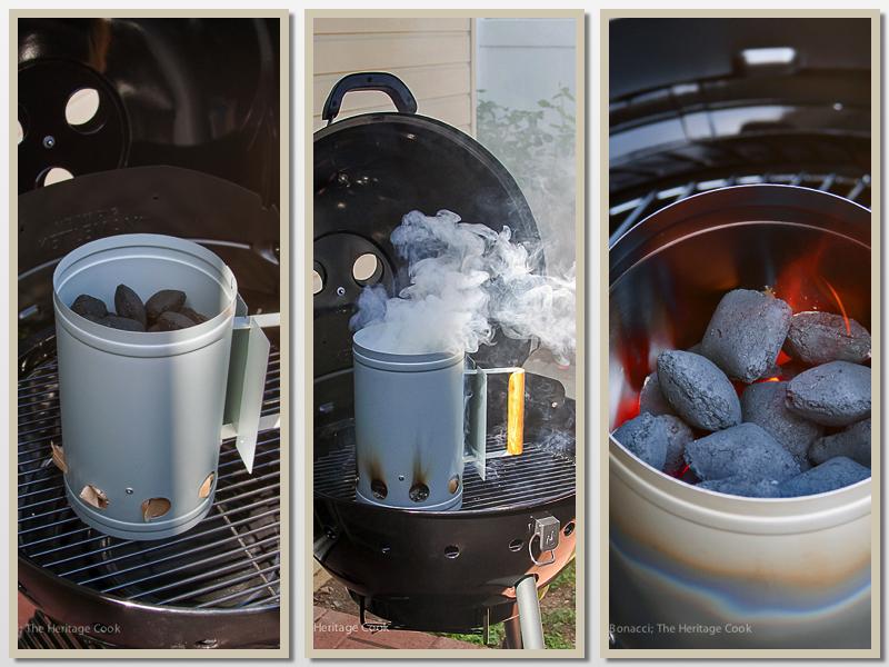 Using a charcoal chimney; Outrageous Chorizo Poblano Cheeseburgers (Gluten-Free); © 2016 Jane Bonacci, The Heritage Cook