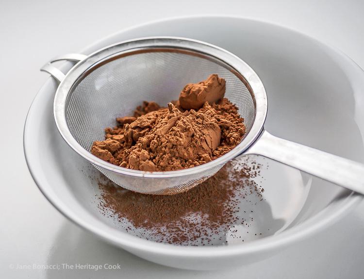 Sift cocoa powder for perfect dusting; Gluten-Free Chocolate Tiramisu; © 2016 Jane Bonacci, The Heritage Cook