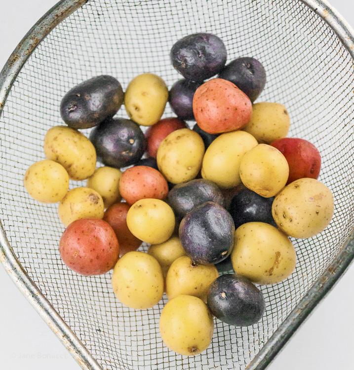 Use mini multi-colored potatoes; Potato, Veggie, and Bacon Salad; © 2016 Jane Bonacci, The Heritage Cook
