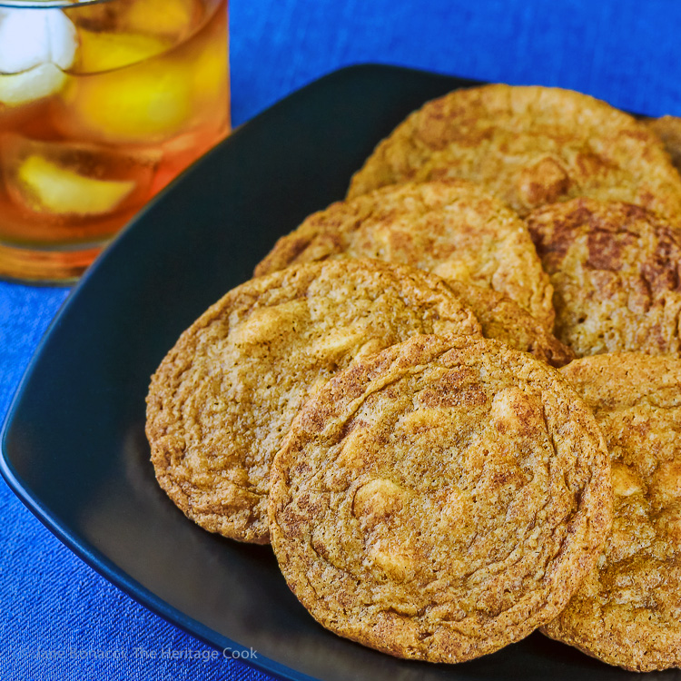 plate of cookies and iced tea; White Chocolate Snickerdoodles; © 2016 Jane Bonacci, The Heritage Cook