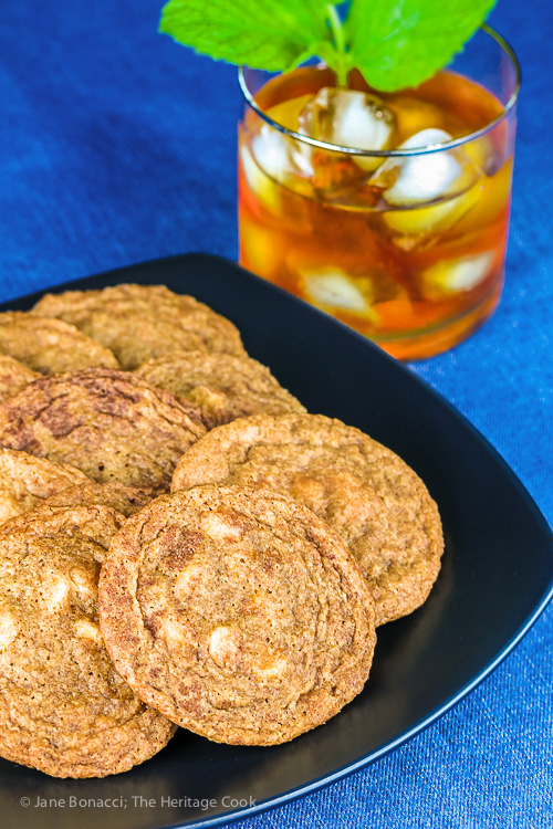 Plate of cookies with glass of iced tea; White Chocolate Snickerdoodles; © 2016 Jane Bonacci, The Heritage Cook