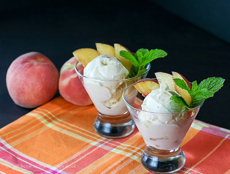 No Churn Fresh Peach Ginger Ice Cream; 2016 Jane Bonacci, The Heritage Cook