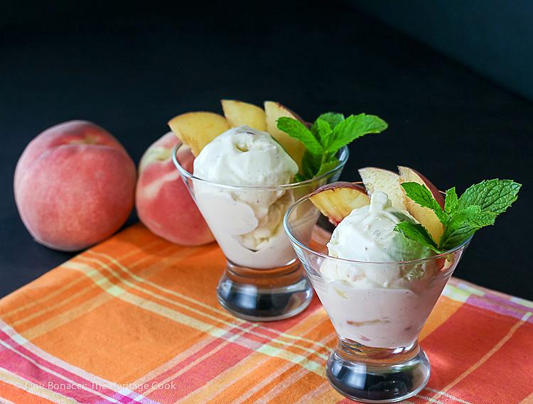 No Churn Fresh Peach Ginger Ice Cream; 2016 Jane Bonacci, The Heritage Cook