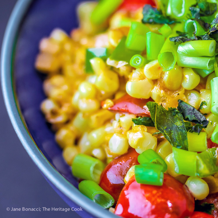 Gluten Free Creamed Corn and Tomatoes - Maque Choux; 2016 Jane Bonacci, The Heritage Cook