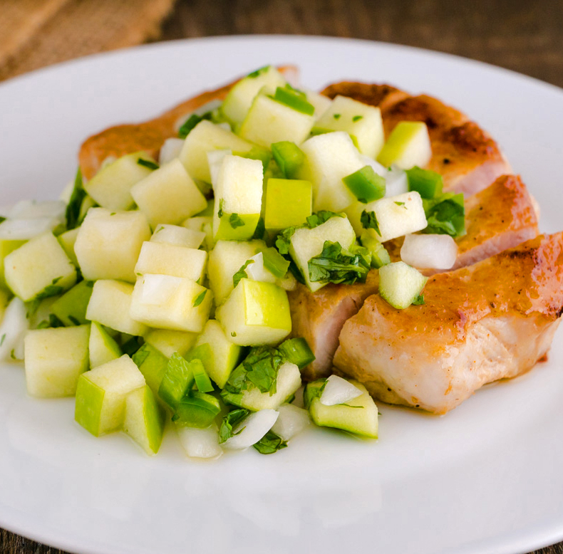 Apple Salsa served with Rose's pork chops; Apple Pico de Gallo © 2016 Rose McAvoy. All rights reserved.