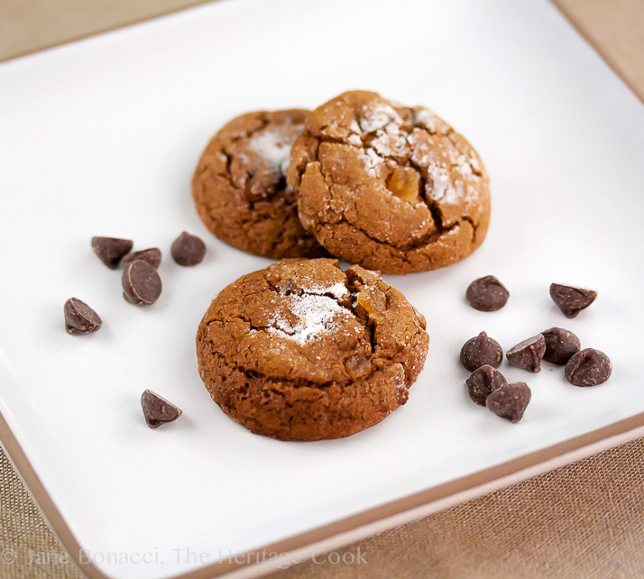 Ginger Cookies with Chocolate Chips; © 2016 Jane Bonacci, The Heritage Cook