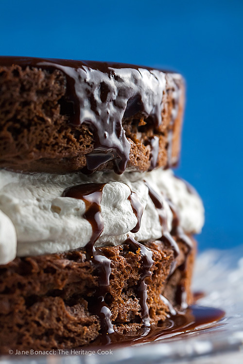Chocolate Layer Cake with Whipped Cream and Chocolate Ganache © Jane Bonacci, The Heritage Cook, all rights reserved
