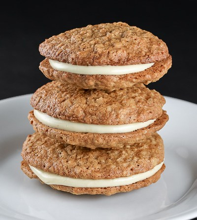 Gluten Free White Chocolate Oatmeal Sandwich Cookies © 2017 Jane Bonacci, The Heritage Cook