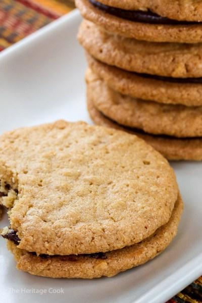 Peanut Butter and Chocolate Ganache Sandwich Cookies Recipe (Gluten Free)