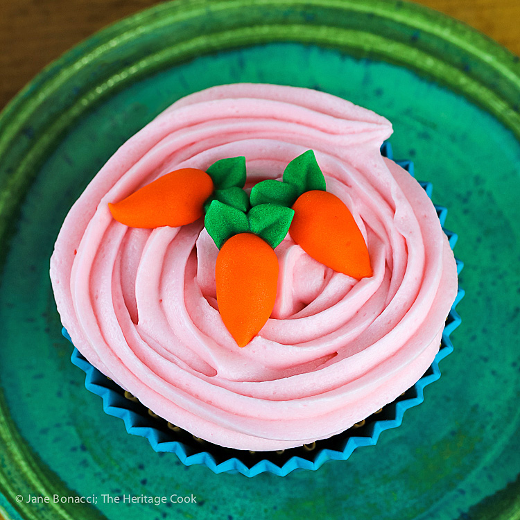 Easter Carrot Cake Cupcakes with White Chocolate Buttercream Frosting (Gluten-Free) © 2017 Jane Bonacci, The Heritage Cook