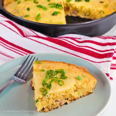 Cheesy Skillet Cornbread with Cheddar and Tasso Ham (Gluten-Free)