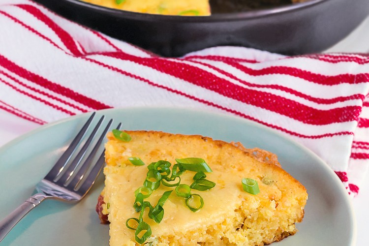 Cheesy Skillet Cornbread with Cheddar and Tasso Ham (Gluten-Free)