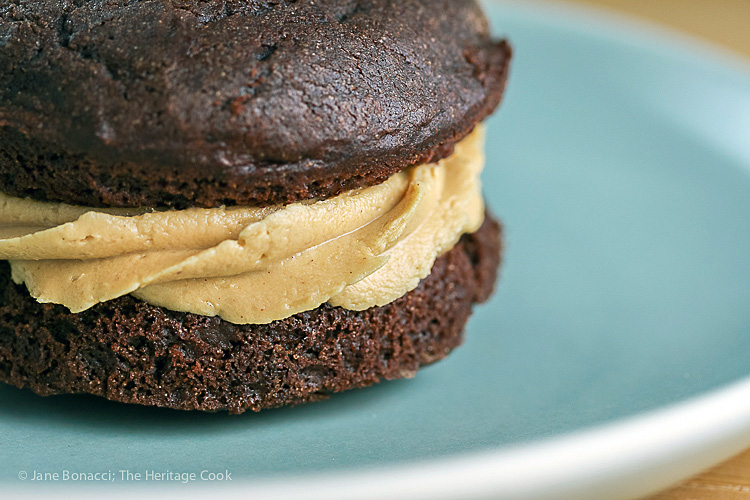 Close up of creamy peanut butter filling; Chocolate Whoopie Pies with Creamy Peanut Butter Filling (Gluten-Free) © 2017 Jane Bonacci, The Heritage Cook
