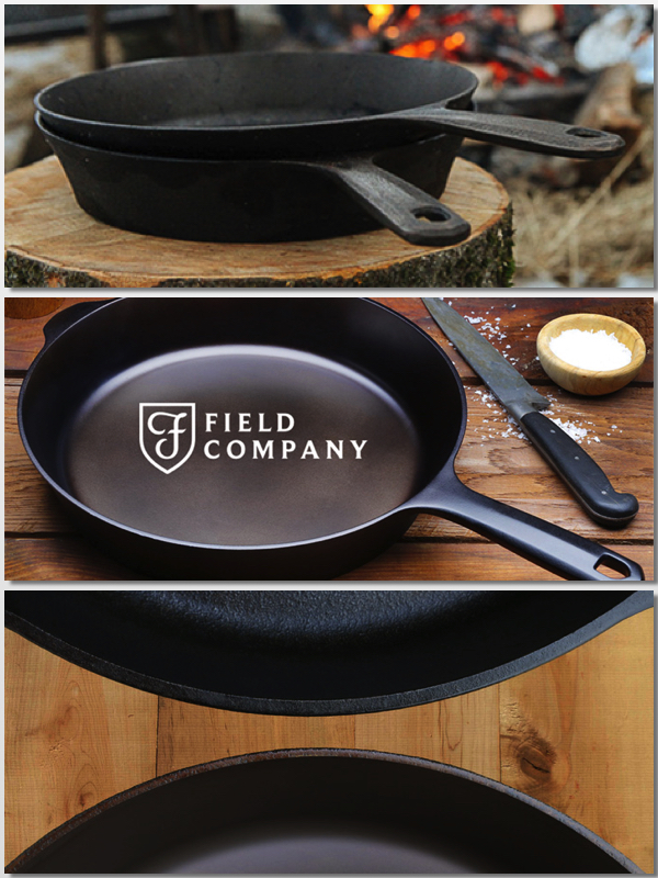 Shots of Field Company Cast Iron Skillets; Cheesy Skillet Cornbread with Cheddar and Tasso Ham © 2017 Jane Bonacci, The Heritage Cook
