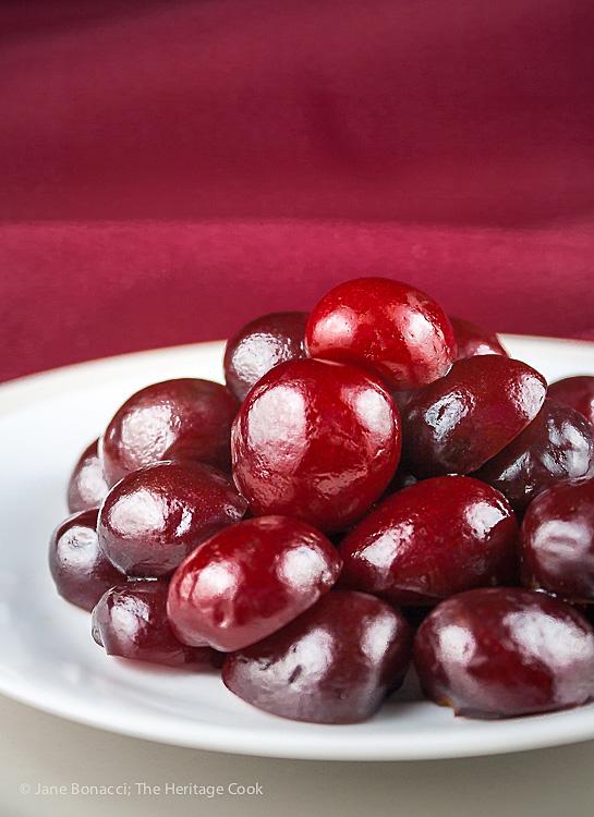 Beautiful Fresh Cherries; Fresh Cherry and Chocolate Chip Sundaes © 2017 Jane Bonacci, The Heritage Cook