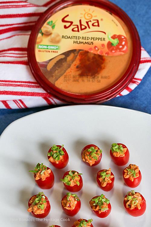 Hummus and Bacon-Stuffed Tomatoes © 2017 Jane Bonacci, The Heritage Cook