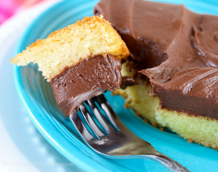 Who wants a bite? Tender Yellow Cake with Fudge Frosting © 2017 Jane Bonacci, The Heritage Cook