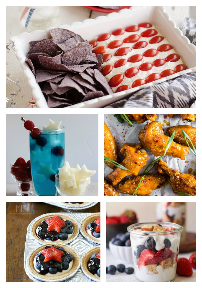 Collage of 5 patriotic recipes for the 4th of July