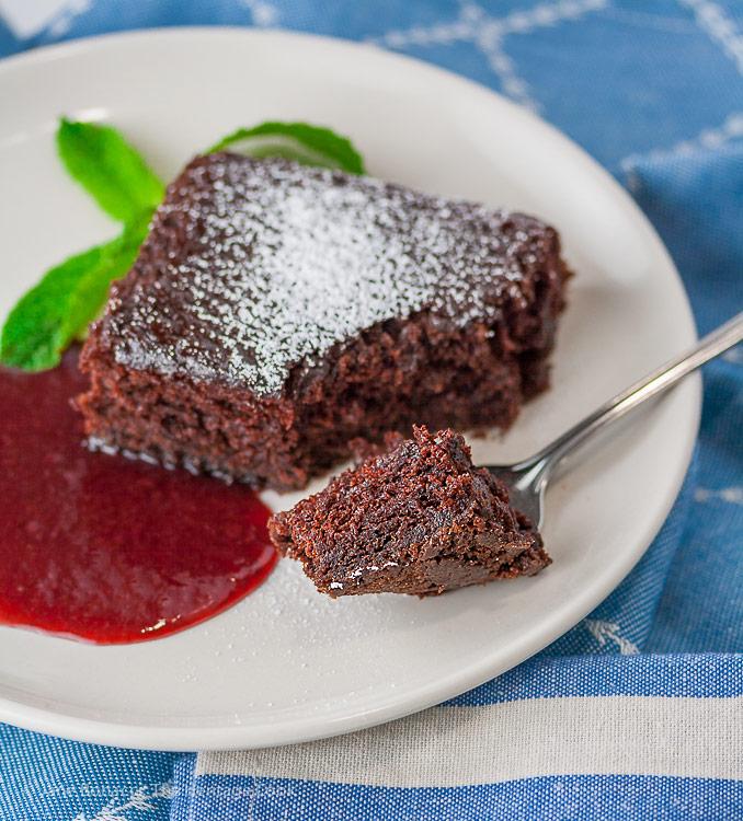 World's Easiest Chocolate Cake with Raspberry Sauce © 2017 Jane Bonacci, The Heritage Cook